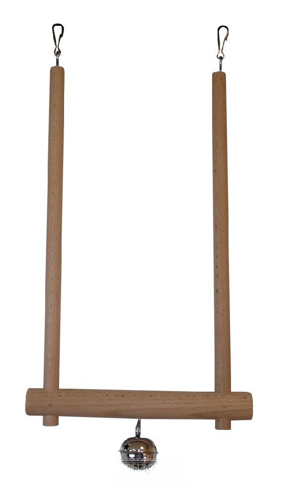 Dřevěná houpačka s rolničkou - 28 cm